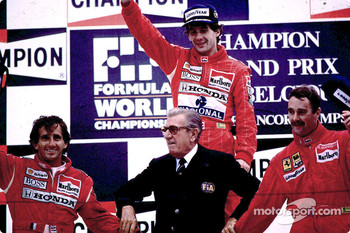 Podium: race winner Ayrton Senna with Alain Prost and Nigel Mansell
