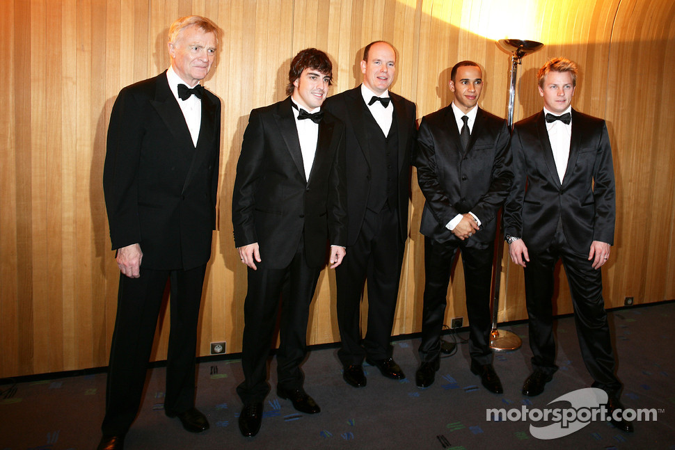 Max Mosley, Fernando Alonso, His Serene Highness Prince Albert of Monaco, Lewis Hamilton and Kimi Raikkonen