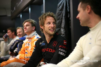 Jenson Button in the drivers briefing
