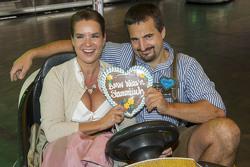 Katharina Witt and Georg Hackl attend the BMW Wiesn Sport-Stammtisch 2015 at Oktoberfest
