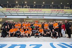 The Sahara Force India F1 Team celebrate third position for Sergio Perez, Sahara Force India F1