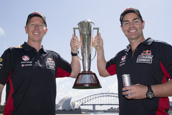 Winners Craig Lowndes and Steven Richards, Triple Eight Race Engineering Holden celebrate with the Bathurst trophy