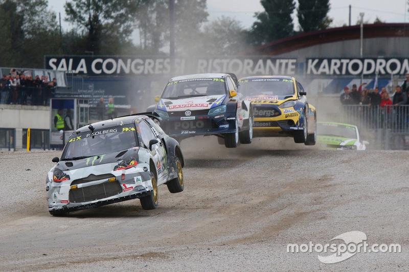 Petter Solberg, SDRX Citroën DS3 RX; Johan Kristoffersson, Volkswagen Team Sweden; Timur Timerzyanov, Olsbergs MSE Ford Fiesta ST