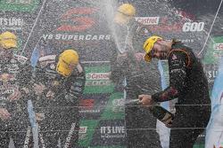 Race winners Shane van Gisbergen, Jonathon Webb, Tekno Autosports Holden celebrate