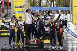 Podium: winners Andreas Mikkelsen and Ola Floene, Volkswagen Motorsport, second place Jari-Matti Latvala and Miikka Anttila, Volkswagen Motorsport, third place Daniel Sordo and Marc Marti, Hyundai Motorsport