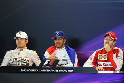 The post race FIA Press Conference second place Nico Rosberg, Mercedes AMG F1, race winner and World Champion Lewis Hamilton, Mercedes AMG F1, and third place Sebastian Vettel, Ferrari