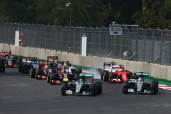 Nico Rosberg, Mercedes AMG F1 W06 leads team mate Lewis Hamilton, Mercedes AMG F1 W06 at the start of the race