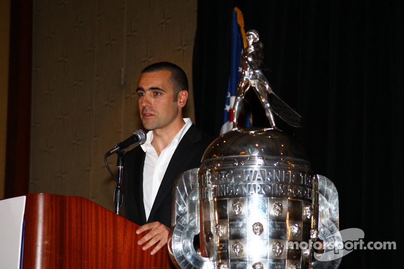 Dario Franchitti speaks at the Shav Glick Newsmakers Forum during the AARWBA Auto Racing All-America Team Banquet