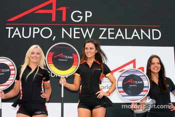 Grid girl on the podium