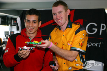 Chris Alajajian, driver of A1 Team Lebanon and John Martin, driver of A1 Team Australia with Scalextric