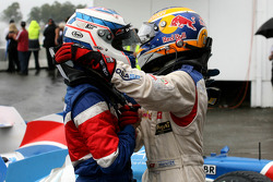 3rd, Robbie Kerr, driver of A1 Team Great Britain and 2nd, Neel Jani, driver of A1 Team Switzerland