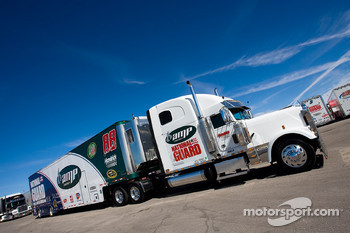The Amp team hauler makes its' way into the Las Vegas Motor Speedway