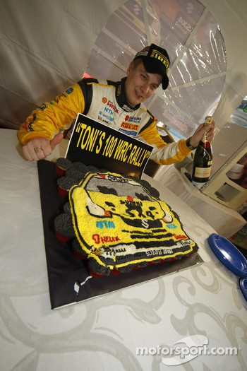 Toni Gardemeister celebrates his 100th WRC