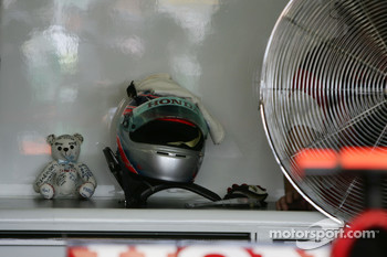 A small teddy bear at the garage of Takuma Sato, Super Aguri F1