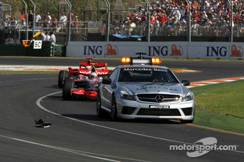 Safety car leads Heikki Kovalainen, McLaren Mercedes