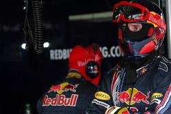 Red Bull Racing crew members in the garage