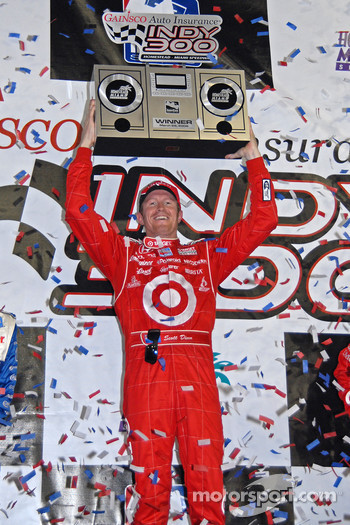 Podium: race winner Scott Dixon celebrates