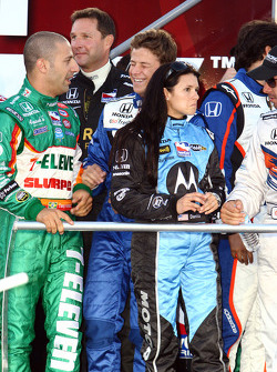Marco Andretti shares a laugh with Tony Kanaan while Danica Patrick listens to Oriol Servia