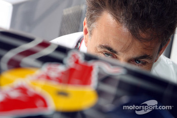 Jean Alesi in the Red Bull Racing garage