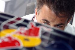 Jean Alesi in the Red Bull Racing garage