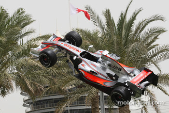 A McLaren Mercedes F1 Show car suspeneded in mid-air
