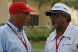 Niki Lauda, Former F1 world champion and RTL TV and Vijay Mallya, Force India F1 Team, Owner and Kingfisher CEO