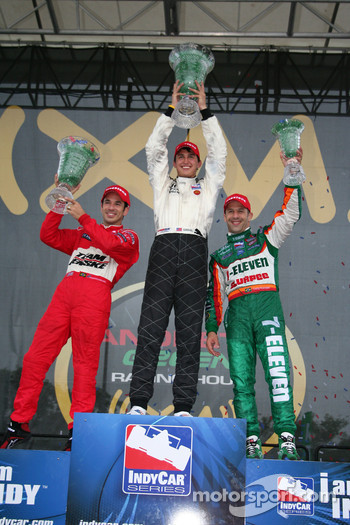 Winner Graham Rahal with Helio Castroneves and Tony Kanaan