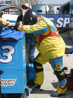 A crew member for Bobby Labonte takes a break