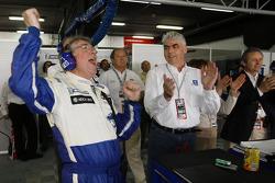 Michel Barge and Peugeot CEO Jean-Philippe Collin celebrate win