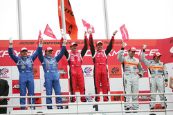GT500 podium: class and overall winners Satoshi Motoyama and Benoit Treluyer, second place Tsugio Matsuda and Sébastien Philippe, third place Ralph Firman and Takuya Izawa