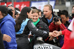 Race winner Danica Patrick celebrates