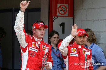 Pole winner Kimi Raikkonen with Felipe Massa