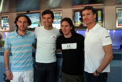 Gabriel Milito, FC Barcelona, Mark Webber, Red Bull Racing, Lionel Messi, FC Barcelona and Argentina International, football player and David Coulthard, Red Bull Racing