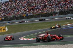 Kimi Raikkonen, Scuderia Ferrari, F2008, leads Felipe Massa, Scuderia Ferrari, F2008