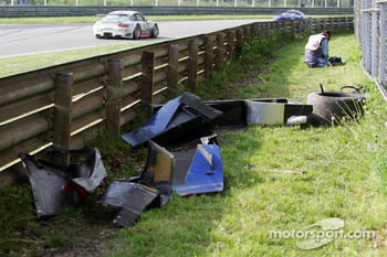 Aftermath of Stphane Ortelli's violent crash