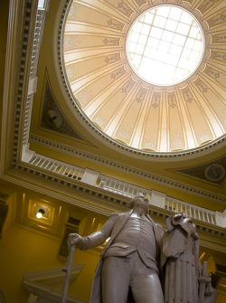 The capital of Virginia, Richmond: George Washington Statue inside of the State Capitol in Richmond