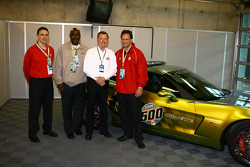 IU Men's Basketball head coach Tom Crean, Pace Car driver Johnny Rutherford and I.U. colleagues pose with the E85 Pace Car