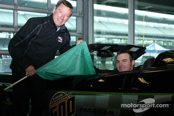Johnny Rutherford poses with Honorary Starter, Jon Laski, 2008 Purdue Grand Prix Winner and IUPUI Student