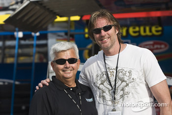 Country singer, Darryl Worley, spends time with NASCAR Sprint Series Public Relations Director, Randy Fuller, before qualifying
