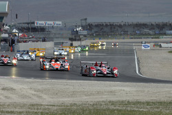 Second lap: #2 Audi Sport North America Audi R10 TDI: Lucas Luhr, Marco Werner leads the field
