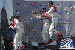 P1 podium champagne celebration