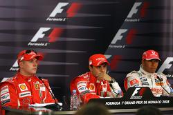 l-r, 2nd, Kimi Raikkonen, Scuderia Ferrari, 1st, Felipe Massa, Scuderia Ferrari, 3rd, Lewis Hamilton, McLaren Mercedes