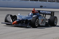 Oriol Servia's front wing was damaged in the wild racing at the beginning