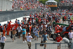 Fans on the track