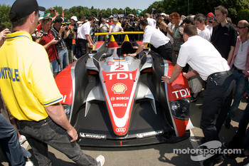 #2 Audi Sport North America Audi R10 arrives at scrutineering