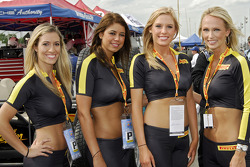 The Pirelli girls in pit lane