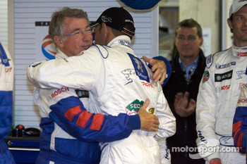 Pole winner Stéphane Sarrazin celebrates with Michel Barge