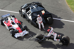 Timo Glock, Toyota F1 Team and Jarno Trulli, Toyota Racing with the