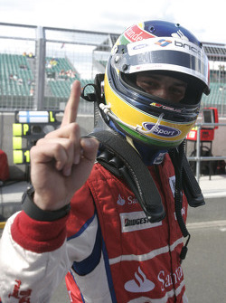Bruno Senna celebrates his pole position
