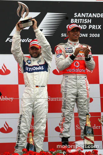 Podium: race winner Lewis Hamilton with second place Nick Heidfeld